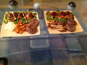 Syn free burgers, butternut squash and salad