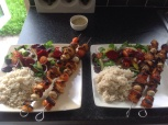 Chicken tikka kebabs, cauli rice and salad