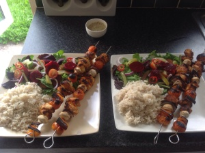 Chicken tikka kebabs, cauli rice and salad